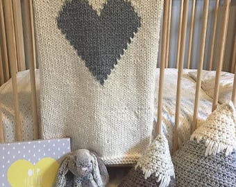 Knit Heart Baby Blanket