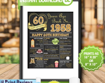 60th Birthday Chalkboard Sign, 1958 GOLD Birthday Poster Sign, 60th Adult Birthday Gift Poster- Personalized Year Digital Printable File