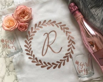 Initial Tote Bag / Shopping Bag / Personalized / Monogram Initial Bag / Bridesmaid Gifts