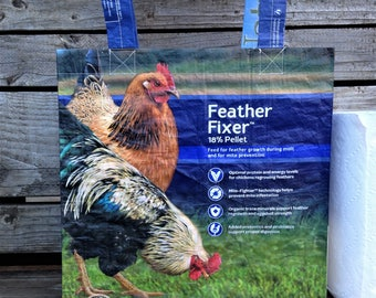 Recycled Feed Bag Tote, reusable tote bag, grocery tote, recycled shopping bag, reusable grocery bag, recycled tote bag, chickens, upcycled