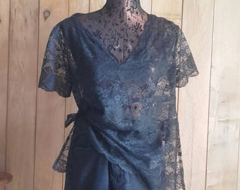 Black Lace of Calais semi offset handmade v-neck BLOUSE