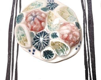 Teal/Rose/Green/Blue Ceramic Brooch