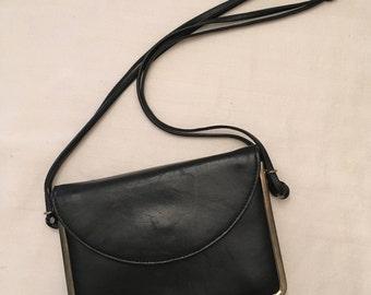 Black Leather Markay Shoulder Bag
