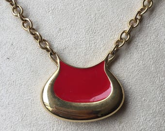 Vintage Monet red enamel necklace