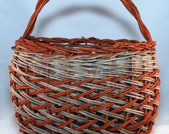 "Traditional Sicilian Willow ""Vimini"" herringbone knitting basket"
