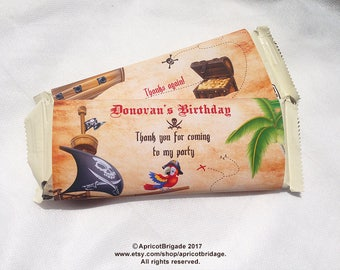 Personalized pirate candy wrapper, Hershey Candy Bar Wrappers, Pirate candy bar wrap, Pirate Birthday Favor, Printable Pirate Candy Wrap