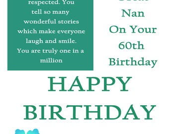 Great Nan 60 Birthday Card with removable laminate
