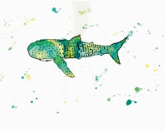 5 X 7 Whale Shark Art Print   Wildlife Original Art   Kids Room Wall Decor   Nursery Decor   Baby Room Art   Rainbow Animal Art