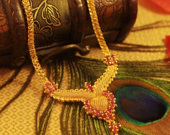 Indian Necklace with Pink Stones.