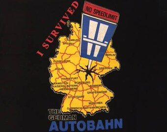Vintage 90's I Survived the German Autobahn No Speed Limit Vacation Tourist t shirt L