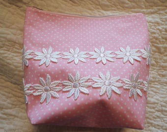 Custom Hand Made Cosmetic Bag Pink  White Polka Dots With Vintage Lace & Trim