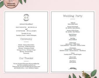 Elegant Wedding Programs Template Download, Printable Editable Wedding Program, Monogram Logo, A4 US Letter Wedding Program Instant Download