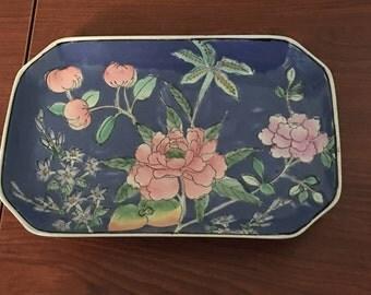 Vintage Rectangular Tray-Hand painted in Macau