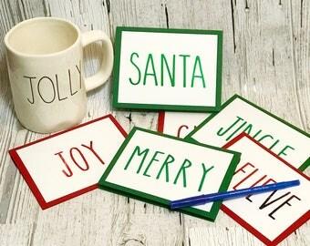 Rae Dunn Inspired Christmas Cards   Jingle Cheer Believe Santa Merry Joy Cards     Rae Dunn Inspired Holiday Card Set