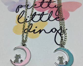 """Necklace """"Cat in the Moon"""" pink or blue"""