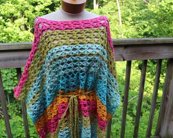 Oversize beach poncho with braided belt