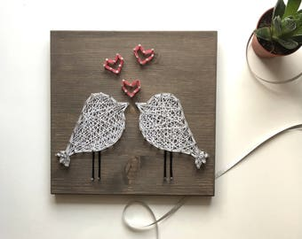 Birds String Art/Love Birds String Art/Birds Wall Art/String Art Hearts/Nail and String Art/String Art/Birds Wood/Birds/Love Birds/Gift