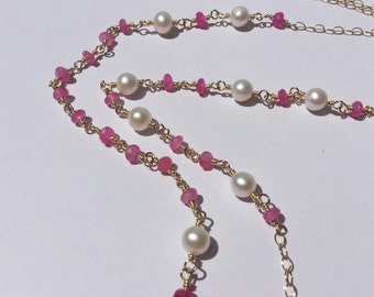 Pink jade and pearl long beaded necklace, wire wrapped necklace, long beaded necklace, beaded necklace
