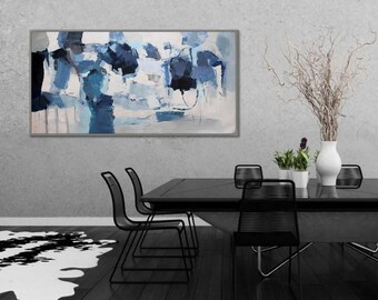"Wall Art Abstract Painting Interior Decor Painting Modern Acrylic Painting Canvas Art Original Abstract Art  24x48""/60x120cm"