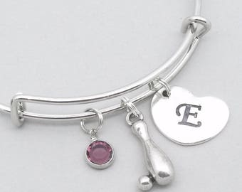 Ten pin bowling charm bracelet with heart initial | ten pin bowling jewelry | personalised ten pin bowling gift | birthstone