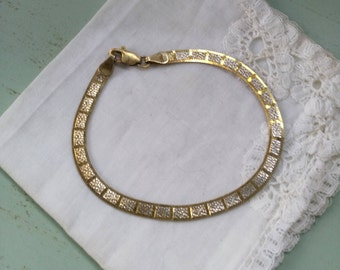 Bracelet in sterling silver and vermeil vintage. Vintage silver vermeil bracelet