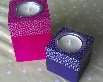Hand Painted MDF Tea Light Holders