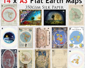 14 x Flat Earth Maps on 350gsm A3 thick glossy paper.
