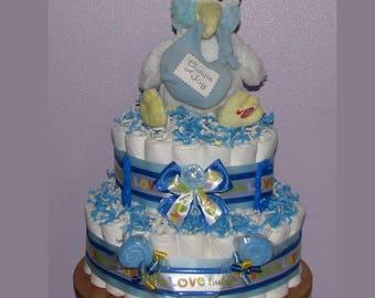 Baby Boy Diaper Cake, Baby Stork Diaper Cake,  Baby Shower Diaper Cake, Stork Diaper Cake, Diaper Cake