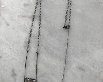 Stacked Bar Necklace with Onyx