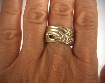 Solid Sterling Silver Ring/ Size 8/ 13g Heavy Genuine .925 Sterling Silver Ring/ Modern Silver Ring