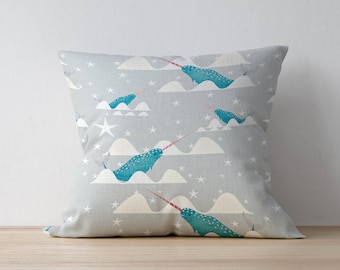 Narwhal Pillow, Nursery Cushion, Kids Pillow Cushion, Nautical Cushion, Home decor, Children Room Decor, Nursery Decor, Playroom decor
