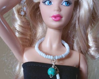 Barbie Jewelry Choker & Bracelet. Turquoise gemstone and white seed beads Two Piece Set Doll Jewelry Real Tiny Jewelry.