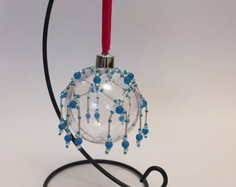 Christmas Tree Decoration / Hand Beaded Bright Blue and Silver Christmas Ornament Cover