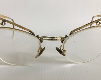 Vintage 1950s Rimless Cat Eye Glasses / Bausch & Lomb Gold Cateye Glasses 12k Gold