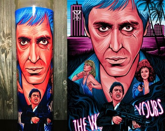 Scarface, Al Pacino, Tony Montana, ScarFace Art, Scented Candle, Scarface Fan Art, Pacino, Best Scented Candles, Candles, Prayer Candle,