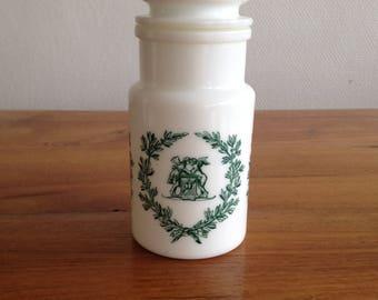 opal glass apothecary jar - vintage