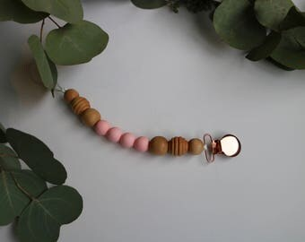 The Woodrow & Mae Pacifier Clip in PINK - Dummy Clip - Pacifier Holder - Wood Pacifier Clip - Silicone Pacifier Clip