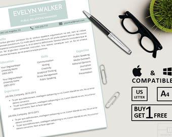 Modern Resume Template | CV Template + Cover Letter | Professional Resume | Teacher Resume | Word Resume | Instant Digital Download