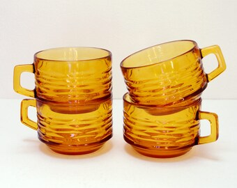 Set of 4 LARGE Vereco amber glass cups / chiseled texture / bistro tea - coffee cups / mugs / 70's French Vintage
