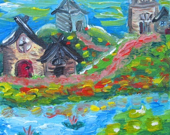 """Art print of original oil painting """"Little Town by the Lake"""" 11x11 small art prints colorful wall art , impressionist art , modern art,"""