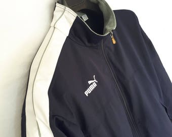 90s PUMA jacket Navy Blue and white L