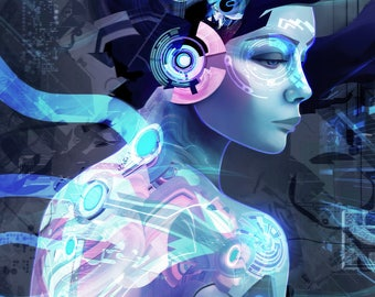 CYBERPUNK ANDROID MACHINE Psychedelic Art Visionary Art Print Digital Artwork Painting Scifi Art Prints Ghost In The Shell Art Android Robot