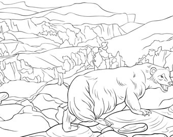 Adult coloring page an animal on a mountain,landscape line art style illustration