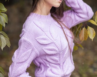 Women cable knit violet sweater knit jumper chunky knit pullover bulky hand knit sweater leaf sweater bohemian sweater Christmas gift