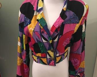 Vintage Cropped Sequin Jacket