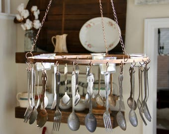 Rustic Chandelier   Flatware Chandelier   Silverware Chandelier   Vintage  Chandelier   Tea Light Chandelier