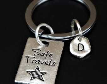 Safe Travels Keychain, Safe Travels Key Chain, Safe Travels Charm, Safe Travels Pendant, Travel Keychain, Traveler Keychain, Travel Gift