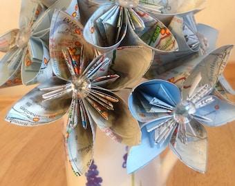 Paper flower bouquet, bridal bouquet, paper flowers, alternative bouquet, literary bouquet, origami bouquet, kusudama, first anniversary