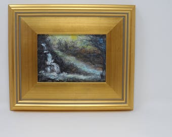 Hidden Falls. Small 5x7 original impressionist painting. Charlie Stone Art. Landscape. Great gift. Framed. Ready to hang. Free shipping.