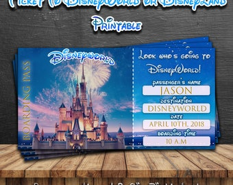 DISNEYWORLD TICKET,Disneyworld Trip Ticket,Disneyworld boarding pass,Disneyland Park Trip,DisneyWorld Card,Printable Ticket to Disneyworld